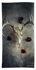 Deer Buck Skull With Fallen Leaves Beach Towel by Stephanie Frey