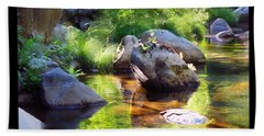 Deer Creek Ferns - White Text Beach Towel