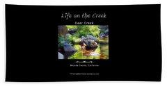 Deer Creek Ferns - White Text Beach Towel