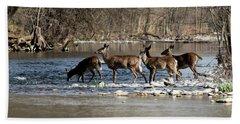 Deer Crossing 3 Beach Towel