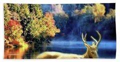 Deer In Autumn Beach Sheet