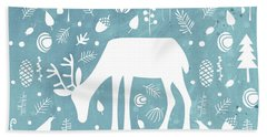 Deer In The Woods Beach Towel