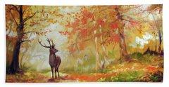 Deer On The Wooden Path Beach Towel