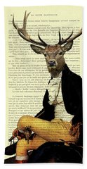 Deer Regency Portrait Beach Towel