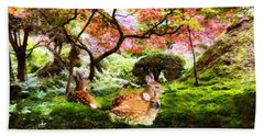 Deer Relaxing In A Meadow Beach Towel