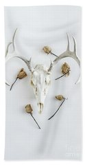Beach Sheet featuring the photograph Deer Skull With Antlers And Roses by Stephanie Frey