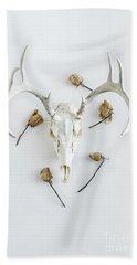 Deer Skull With Antlers And Roses Beach Towel