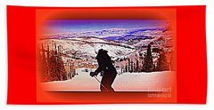 Beach Towel featuring the photograph Deer Valley Utah Powder by Richard W Linford