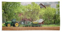 Beach Towel featuring the photograph Deere On The Farm by Susan Rissi Tregoning