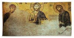 Deesis Mosaic Hagia Sophia-christ Pantocrator-judgement Day Beach Sheet