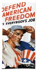 Defend American Freedom It's Everybody's Job Beach Towel