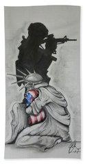 Soldier Drawings Beach Towels
