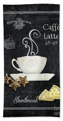 Beach Towel featuring the painting Deja Brew Chalkboard Coffee 2 Caffe Latte Shortbread Chocolate Cookies by Audrey Jeanne Roberts