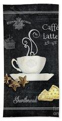 Deja Brew Chalkboard Coffee 2 Caffe Latte Shortbread Chocolate Cookies Beach Sheet by Audrey Jeanne Roberts