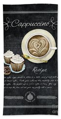 Beach Towel featuring the painting Deja Brew Chalkboard Coffee 3 Cappuccino Cupcakes Chocolate Recipe  by Audrey Jeanne Roberts