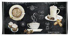 Beach Towel featuring the painting Deja Brew Chalkboard Coffee Cappuccino Mocha Caffe Latte by Audrey Jeanne Roberts