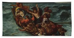 Beach Towel featuring the painting Delacroix Christ Asleep by Granger