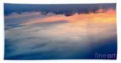 Delaware River Abstract Reflections Foggy Sunrise Nature Art Beach Towel