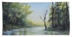 Beach Towel featuring the painting Delaware River  by Katalin Luczay