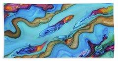 Delfines De Fuego Beach Towel by Angel Ortiz
