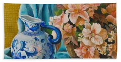 Beach Sheet featuring the painting Delft Pitcher With Flowers by Marlene Book