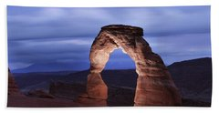 Delicate Arch At Twilight Beach Sheet