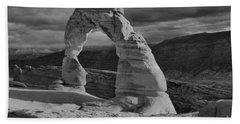 Delicate Arch Black And White Sunset Shadow Beach Towel