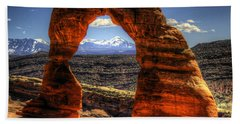 Delicate Arch Framing La Sal Mountains Beach Sheet