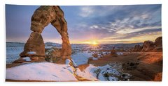 Delicate Arch Winter Beach Towel