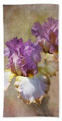 Delicate Gold And Lavender Iris Beach Towel