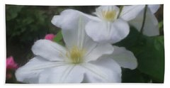 Delicate White Clematis Pair Beach Sheet