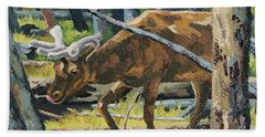 Beach Sheet featuring the painting Delicious Greens, Yellowstone by Erin Fickert-Rowland