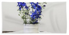Beach Towel featuring the photograph Delphinium Blue by Kim Hojnacki