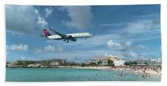 Delta 757 Landing At St. Maarten Beach Towel