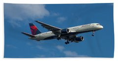 Delta Air Lines 757 Airplane N668dn Beach Towel