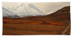 Denali And Tundra In Autumn Beach Towel
