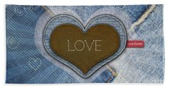 Denim Valentines Card Beach Towel
