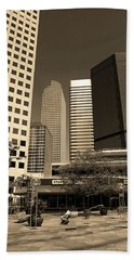 Beach Towel featuring the photograph Denver Architecture Sepia by Frank Romeo