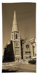 Beach Sheet featuring the photograph Denver Downtown Church Sepia by Frank Romeo