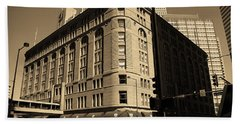Beach Towel featuring the photograph Denver Downtown Sepia by Frank Romeo