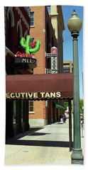 Beach Towel featuring the photograph Denver Downtown Storefront by Frank Romeo
