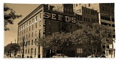 Beach Towel featuring the photograph Denver Downtown Warehouse Sepia by Frank Romeo