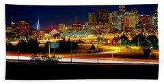 Denver Night Skyline Beach Towel