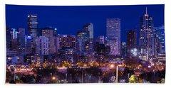 Denver Skyline At Night - Colorado Beach Towel