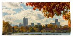 Denver Skyline Fall Foliage View Beach Sheet
