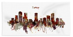 Beach Towel featuring the mixed media Denver Skyline Silhouette by Marian Voicu