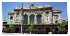 Beach Towel featuring the photograph Denver - Union Station Film by Frank Romeo