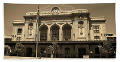 Beach Towel featuring the photograph Denver - Union Station Sepia 5 by Frank Romeo
