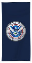 Department Of Homeland Security - D H S Emblem On Blue Velvet Beach Towel