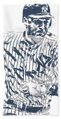 Derek Jeter New York Yankees Pixel Art 12 Beach Towel